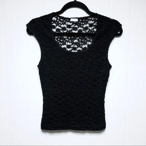 🖤XOXO Black Lace Sleeveless Crop Top Vest S